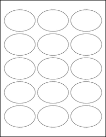 "Sheet of 2.5"" x 1.75"" Oval Weatherproof Gloss Inkjet labels"