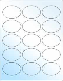 """Sheet of 2.5"""" x 1.75"""" Oval White Gloss Laser labels"""
