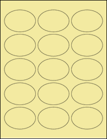 """Sheet of 2.5"""" x 1.75"""" Oval Pastel Yellow labels"""
