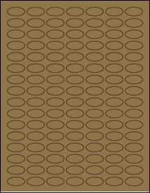 """Sheet of 1"""" x 0.5"""" Small Oval Brown Kraft labels"""