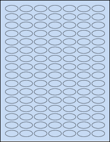 "Sheet of 1"" x 0.5"" Small Oval Pastel Blue labels"