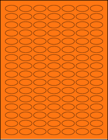"Sheet of 1"" x 0.5"" Small Oval Fluorescent Orange labels"