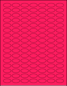 """Sheet of 1"""" x 0.5"""" Small Oval Fluorescent Pink labels"""