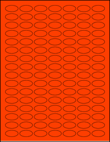"""Sheet of 1"""" x 0.5"""" Small Oval Fluorescent Red labels"""