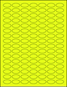"Sheet of 1"" x 0.5"" Small Oval Fluorescent Yellow labels"