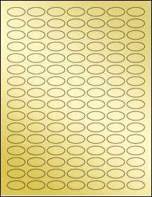 "Sheet of 1"" x 0.5"" Small Oval Gold Foil Laser labels"