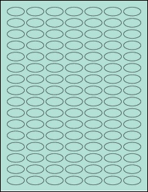"Sheet of 1"" x 0.5"" Small Oval Pastel Green labels"