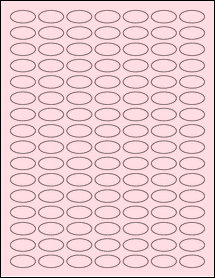 "Sheet of 1"" x 0.5"" Small Oval Pastel Pink labels"