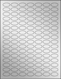 "Sheet of 1"" x 0.5"" Small Oval Silver Foil Inkjet labels"