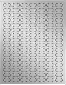 """Sheet of 1"""" x 0.5"""" Small Oval Weatherproof Silver Polyester Laser labels"""