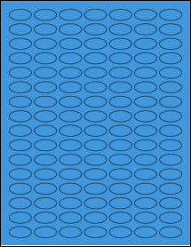 """Sheet of 1"""" x 0.5"""" Small Oval True Blue labels"""