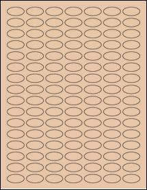 """Sheet of 1"""" x 0.5"""" Small Oval Light Tan labels"""