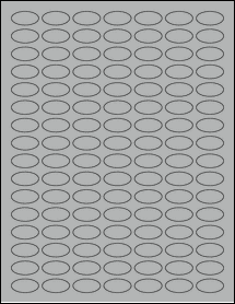"""Sheet of 1"""" x 0.5"""" Small Oval True Gray labels"""