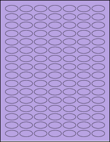 "Sheet of 1"" x 0.5"" Small Oval True Purple labels"