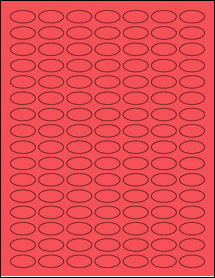 """Sheet of 1"""" x 0.5"""" Small Oval True Red labels"""