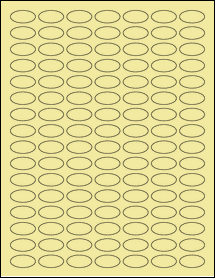 """Sheet of 1"""" x 0.5"""" Small Oval Pastel Yellow labels"""