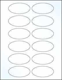 "Sheet of 3"" x 1.5"" Oval Clear Gloss Inkjet labels"