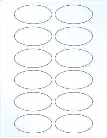 "Sheet of 3"" x 1.5"" Oval Clear Gloss Laser labels"