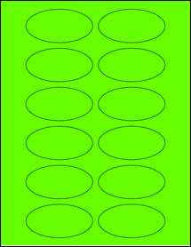 """Sheet of 3"""" x 1.5"""" Oval Fluorescent Green labels"""