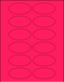 """Sheet of 3"""" x 1.5"""" Oval Fluorescent Pink labels"""