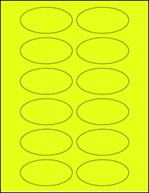 """Sheet of 3"""" x 1.5"""" Oval Fluorescent Yellow labels"""