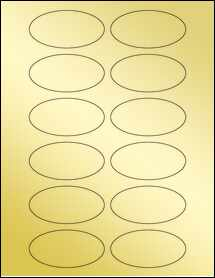 "Sheet of 3"" x 1.5"" Oval Gold Foil Laser labels"