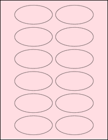 """Sheet of 3"""" x 1.5"""" Oval Pastel Pink labels"""