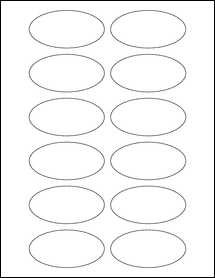 "Sheet of 3"" x 1.5"" Oval 100% Recycled White labels"