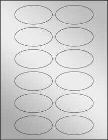"Sheet of 3"" x 1.5"" Oval Silver Foil Inkjet labels"