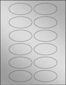 "Sheet of 3"" x 1.5"" Oval Weatherproof Silver Polyester Laser labels"