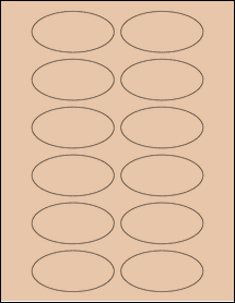 "Sheet of 3"" x 1.5"" Oval Light Tan labels"