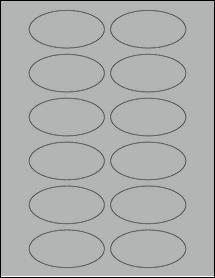 "Sheet of 3"" x 1.5"" Oval True Gray labels"