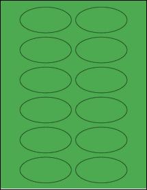 "Sheet of 3"" x 1.5"" Oval True Green labels"