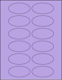 """Sheet of 3"""" x 1.5"""" Oval True Purple labels"""