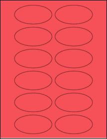 """Sheet of 3"""" x 1.5"""" Oval True Red labels"""