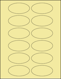 """Sheet of 3"""" x 1.5"""" Oval Pastel Yellow labels"""