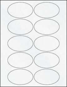 "Sheet of 3.25"" x 2"" Oval Clear Matte Inkjet labels"
