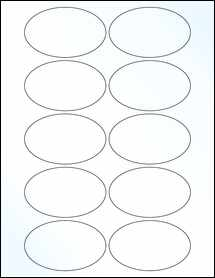 "Sheet of 3.25"" x 2"" Oval Clear Gloss Laser labels"