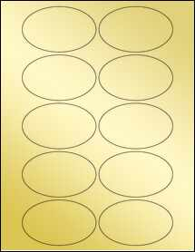"Sheet of 3.25"" x 2"" Oval Gold Foil Laser labels"