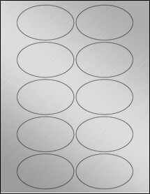 """Sheet of 3.25"""" x 2"""" Oval Weatherproof Silver Polyester Laser labels"""