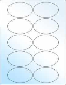 "Sheet of 3.25"" x 2"" Oval White Gloss Inkjet labels"