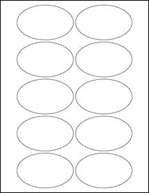 """Sheet of 3.25"""" x 2"""" Oval Weatherproof Gloss Inkjet labels"""