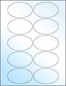 "Sheet of 3.25"" x 2"" Oval White Gloss Laser labels"