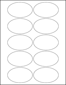 """Sheet of 3.25"""" x 2"""" Oval Aggressive White Matte labels"""