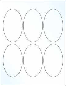 """Sheet of 2.5"""" x 4.25"""" Oval Clear Gloss Laser labels"""