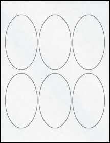 "Sheet of 2.5"" x 4.25"" Oval Clear Matte Laser labels"