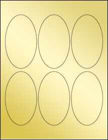 "Sheet of 2.5"" x 4.25"" Oval Gold Foil Laser labels"