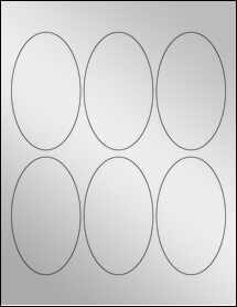 "Sheet of 2.5"" x 4.25"" Oval Silver Foil Laser labels"
