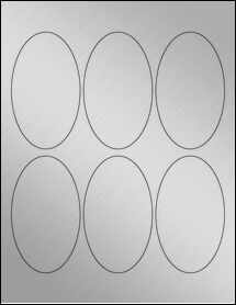 """Sheet of 2.5"""" x 4.25"""" Oval Weatherproof Silver Polyester Laser labels"""