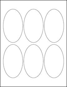 """Sheet of 2.5"""" x 4.25"""" Oval Weatherproof Matte Inkjet labels"""